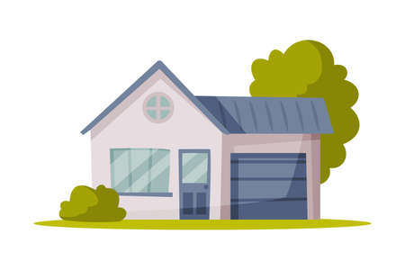 Suburban House, Family Home Vector Illustration Isolated on White Background.
