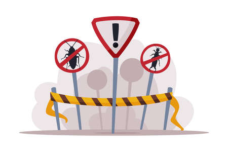 Warning Prohibition Signs, Pest Control and Extermination Service Vector Illustration Isolated on White Background.