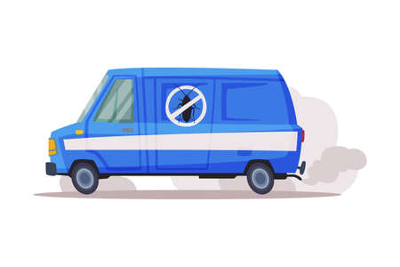 Pest Control Service Van, Exterminator Blue Truck Vector Illustration Isolated on White Background.