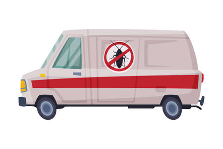 Pest Control Service Van, Exterminator Mini Bus Vector Illustration Isolated on White Background.