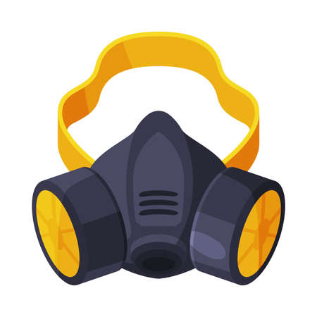 Gas Mask, Respirator with Filters, Pest Control Service Protective Equipment Vector Illustration Isolated on White Background.