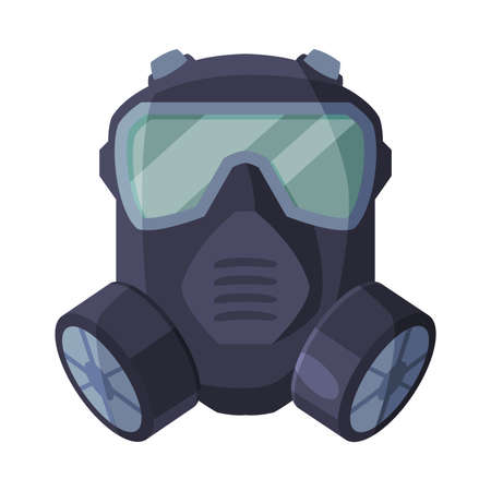 Gas Mask, Respirator with Glasses and Filters, Pest Control Service Protective Equipment Vector Illustration Isolated on White Background. Ilustração