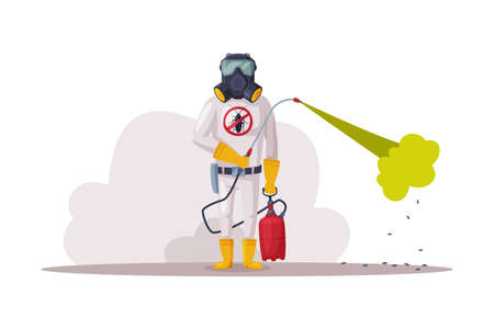Exterminator Wearing Protection Uniform and Gas Mask Using Pressure Sprayer, Pest Control Service Worker Vector Illustration Isolated on White Background.