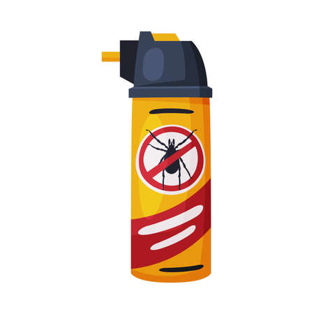 Spray Can of Mite Chemical Insecticide, Pest Control and Extermination Concept Vector Illustration Isolated on White Background.