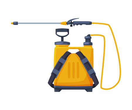 Orange Pressure Sprayer of Chemical Insecticide, Pest Control and Extermination Service Equipment Vector Illustration Isolated on White Background.