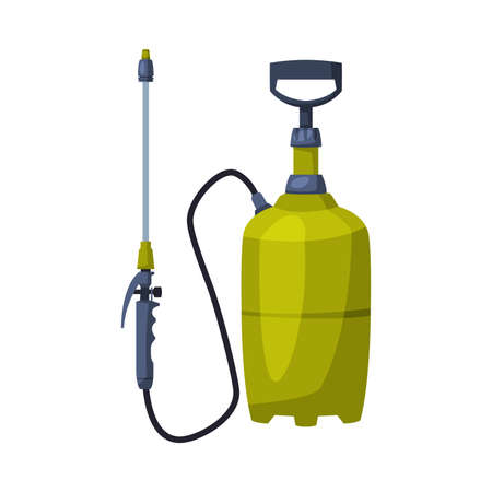 Green Pressure Sprayer of Chemical Insecticide, Pest Control and Extermination Concept Vector Illustration Isolated on White Background. Ilustração
