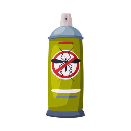 Spray Can of Mosquito Insecticide, Pest Control and Extermination Concept Vector Illustration Isolated on White Background.