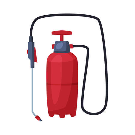 Red Pressure Sprayer of Chemical Insecticide, Pest Control and Extermination Concept Vector Illustration Isolated on White Background. Ilustração
