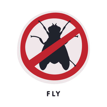 Fly Insect Prohibition Sign, Pest Control and Extermination Service Vector Illustration Isolated on White Background.
