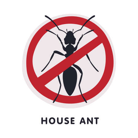 House Ant Insect Prohibition Sign, Pest Control and Extermination Service Vector Illustration Isolated on White Background.
