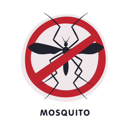 Mosquito Harmful Insect Prohibition Sign, Pest Control and Extermination Service Vector Illustration Isolated on White Background. Ilustração