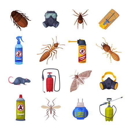 Extermination of Insects Equipment Set, Professional Pest Control Service Vector Illustration Isolated on White Background.