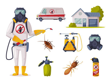 Pest Control Service, Exterminator Wearing Protection Uniform with Exterminating and Protecting Equipment Vector Illustration, Web Design.