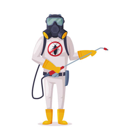 Exterminator Wearing Protection Uniform and Gas Mask Spraying with Insecticide, Male Worker of Pest Control Service Vector Illustration Isolated on White Background. Vettoriali