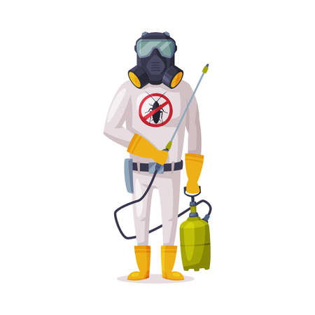 Exterminator Wearing Protection Uniform and Gas Mask with Pressure Sprayer, Male Worker of Pest Control Service Vector Illustration Isolated on White Background. Vettoriali