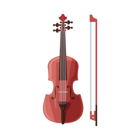 Violin and Bow Classical String Musical Instrument Flat Style Vector Illustration Isolated on White Background.