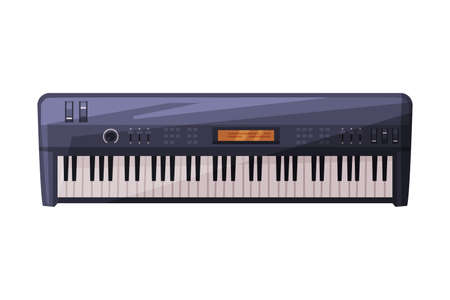 Electronic Piano Keyboard Musical Instrument Flat Style Vector Illustration Isolated on White Background.