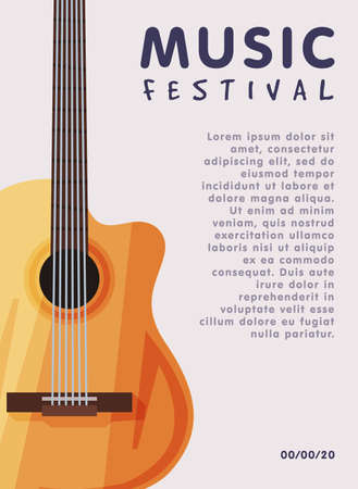Music Festival Banner with Acoustic Guitar Musical Instrument, Advertisement Poster, Brochure, Flyer, Invitation Card Flat Style Vector Illustration.