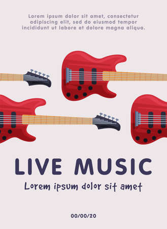 Live Music Banner with Electric Guitars Musical Instruments, Advertisement Poster, Brochure, Flyer, Invitation Card Flat Style Vector Illustration.