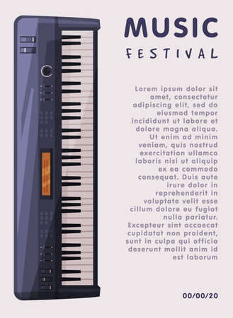Music Festival Banner with Electronic Piano Keyboard Musical Instrument and Place for Text, Advertisement Poster, Brochure, Flyer, Invitation Card Flat Style Vector Illustration.
