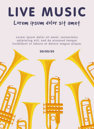 Live Music Banner with Trumpets Musical Instruments, Advertisement Poster, Brochure, Flyer, Invitation Card Flat Style Vector Illustration. Reklamní fotografie - 151144887