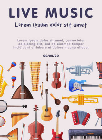 Live Music Banner with Orchestral Musical Instruments, Advertisement Poster, Brochure, Flyer, Invitation Card Flat Style Vector Illustration. Ilustrace