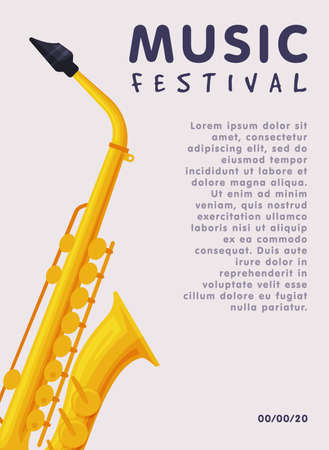 Music Festival Banner with Saxophone Musical Instrument and Place for Text, Advertisement Poster, Brochure, Flyer, Invitation Card Flat Style Vector Illustration. Ilustrace