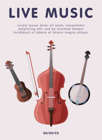 Live Music Banner with Classical Musical Instruments, Advertisement Poster, Brochure, Flyer, Invitation Card Flat Style Vector Illustration. Reklamní fotografie - 151144895