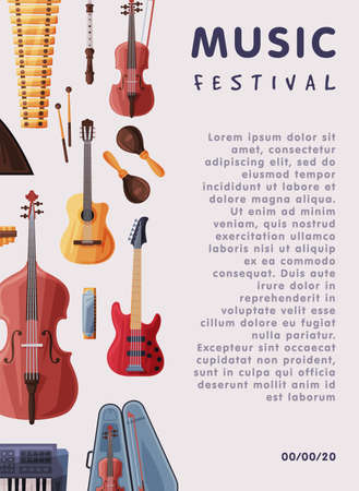 Music Festival Banner with Orchestral Musical Instruments and Place for Text, Advertisement Poster, Brochure, Flyer, Invitation Card Flat Style Vector Illustration.