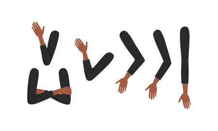 Human African American Sleeved Arms in Various Poses Set, Male or Female Body Part, Constructor for Animation Cartoon Style Vector Illustration Isolated on White Background. Vector Illustratie