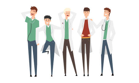 Group of Male Doctors or Medical Students Set, Practicing Interns Standing Together Cartoon Style Vector Illustration Isolated on White Background.