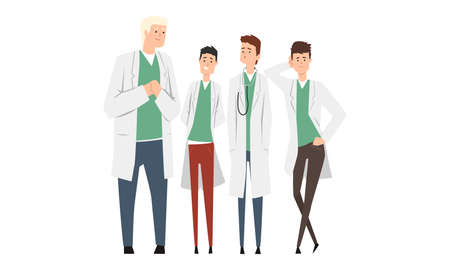 Group of Cheerful Male Doctors or Medical Students Set, Practicing Interns Standing Together Cartoon Style Vector Illustration Isolated on White Background. Illusztráció