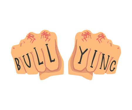 Bullying Inscription on Male Fist, Abuse, Harassment, Teenager Problem Vector Illustration on White Background. Vectores