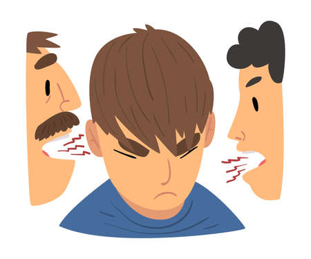 Conflict with Parents, Angry Mother and Father Having a Quarrel Arguing with Rebellious Teen Son Vector Illustration on White Background. Vector Illustratie