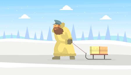 Postman Wearing Sheepskin Coat Delivering Mail on Sled on Beautiful Winter Landscape Vector Illustration in Flat Style. Stock Illustratie