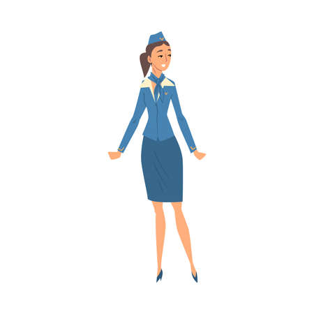Stewardess in Blue Uniform, Flying Attendant or Air Hostess Character Vector Illustration Isolated on White Background.