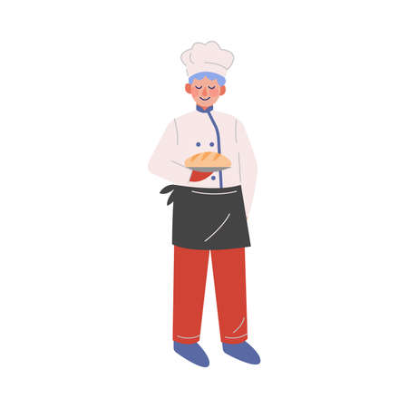 Professional Chef Character with Freshly Baked Bread, Baker Wearing Traditional Uniform Working in Restaurant or Cafe, Vector Illustration on White Background.