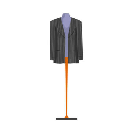 Male Fashion Clothes on Dummy, Male Mannequin for Shop or Tailoring Vector Illustration Isolated on White Background.