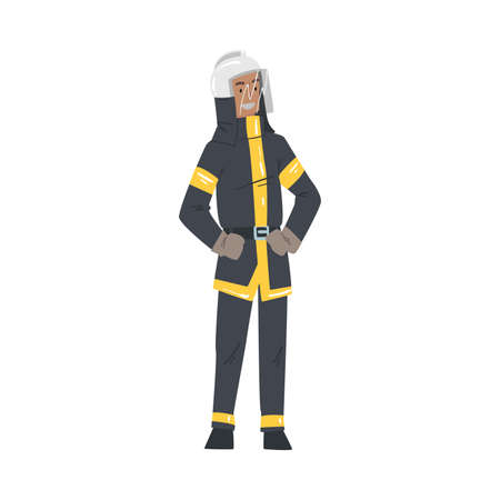Male Firefighter in Uniform, Professional Fireman Character, Emergency Service Worker Vector Illustration Isolated on White Background. Reklamní fotografie - 151368737