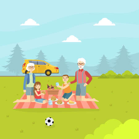 Grandparents and Grandchildren Eating and Relaxing on Nature, Happy Family Having Picnic Outdoors Vector Illustration