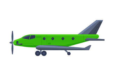 Green Airplane with Propeller, Flying Aircraft Vehicle, Air Transport Vector Illustration