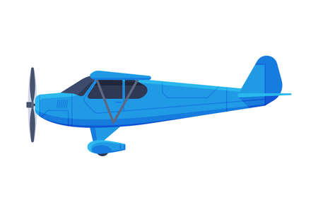 Retro Blue Airplane with Propeller, Flying Aircraft Vehicle, Air Transport Vector Illustration 일러스트