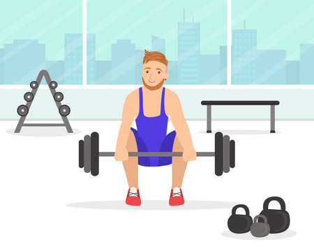 Man Exercising with Barbell in the Gym, Young Man Doing Physical Activity and Sports Vector Illustration Ilustrace