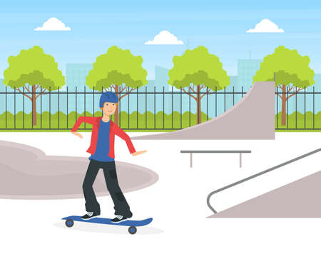 Teenage Boy Scateboarding, Guy Doing Physical Activity Outdoors Vector Illustration
