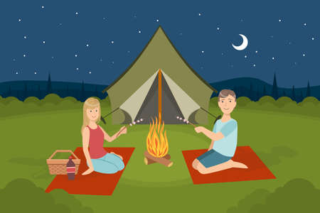Couple Sitting Near Bonfire and Roasting Marshmallows, People Camping or Having Picnic on Nature Vector Illustration