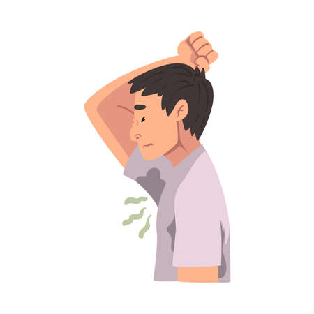 Sweating Young Man Feeling Bad Smell Coming From His Own Armpits Vector Illustration