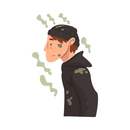Homeless Man in Dirty Clothing, Bad Smelling Guy Having Personal Hygiene Problems Vector Illustration
