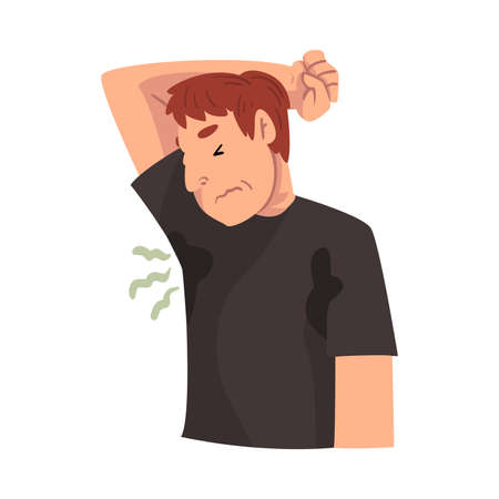 Sweating Young Man Feeling Bad Smell Coming From His Own Armpits, Personal Hygiene Problem Vector Illustration