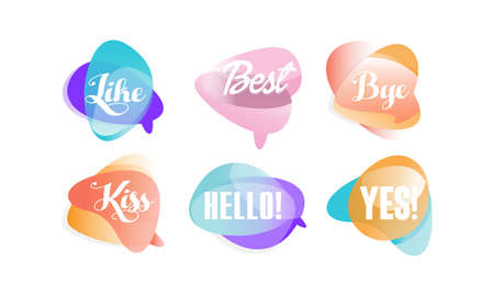 Speech Bubbles with Dialog Words, Like, Best, Hello, Bye, Kiss, Yes Vector Illustration