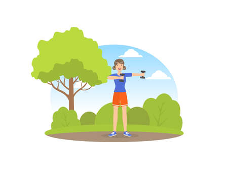 Girl Exercising with Dumbbells in the Park, Young Woman Doing Physical Activity Outdoors Vector Illustration